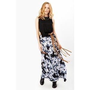 MINKPINK Floral Maxi Skirt | Black Navy White